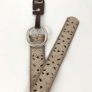 Fossil Accessories - Fossil Floral Perforated Leather SILVER Small